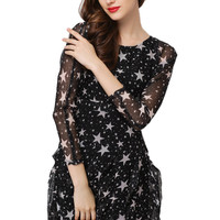 Black Star Printed Long Sleeve Chiffon Dress