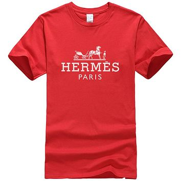 Hermes Summer New Fashion Bust Letter Horse Print Women Men Leisure Top T-Shirt Red