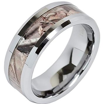 CERTIFIED 8 MM Carbide Tungsten Ring Real Oak Camouflage Wedding Band