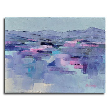 "Purple Hills - Mini abstract landscape oil painting - purple, pink, grey  - 7,1"" x 9,4"""