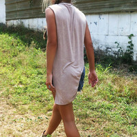 Take It Easy Beige Light Acid Wash Cowl Neck High Low Tank