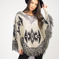 Native Fringe Sweater Poncho - Beige /
