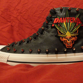 PANTERA Heavy Metal Punk Rock Custom Studded Converse Chuck Taylor All Star Sneakers Shoes with Spikes not shirt Men's Women's Kids