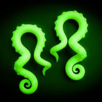Tentacle Gauges, Fake Gauges, Fake Plugs, Ear Gauges, Glow in the Dark Tentacle Earrings, Octopus Gauges, Ear Plugs, Faux Gauges, Faux Plugs