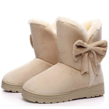 Women Boots 2016 New Arrival Ankle Winter Boots Female Cute Solid Bowtie Women Snow Boots Flat Shoes Slip On Botas Femininas