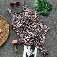 Explosive section one-piece leopard buckle bathing suit sexy leopard bikini