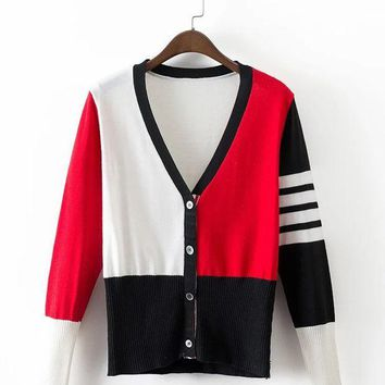 ac PEAPON Sweater 3-color Stripes V-neck Knit Jacket [9408472076]