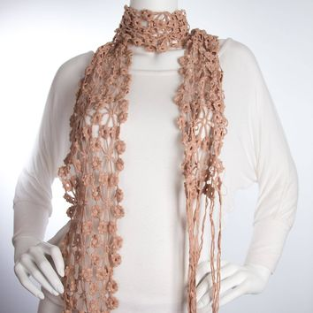 Bohomonde Daisy Scarf, Crochet Lace Floral Pattern, 100% Cotton