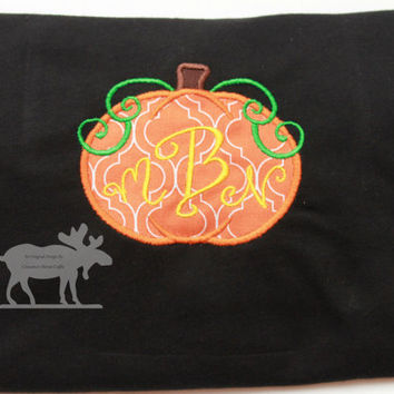 Pumpkin Monogram T-Shirt / Pumpkin Shirt / Fall Outfit / Fall Shirt / Toddler Shirt / Monogrammed Shirt / Embroidery / Custom Shirt