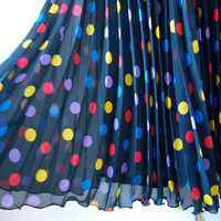 Party Skirt / Vintage 1980s / Brightly Coloured Polka Dot Pleated Skirt