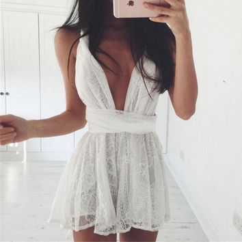 Sexy Lace Deep V Neck Sleeveless Night Club Mini Dress