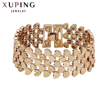 11.11 Deals Xuping Fashion Bracelet Top Quality Simple Smooth Small Heart  Gold Color Plated Bracelet Jewelry Promotion 72450