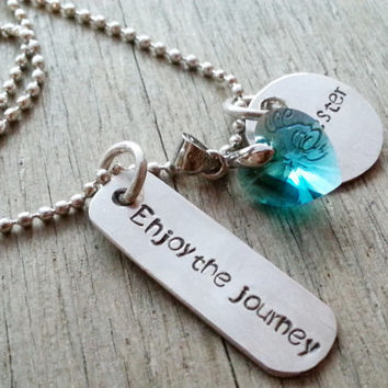 Seester Necklace, Inspirational Quote Graduation Travel; Necklace, Poetry Necklace, Inspirational, Enjoy the Journey Necklace