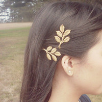 Gold Bridal Hair Pins - Bridal Bobby Pins Bridal Hair Clips Leaf Bobby Pins Woodland Wedding Grecian Bridal Hair Accessories Autumn Fall
