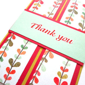 Thank You Card Green and Red Floral