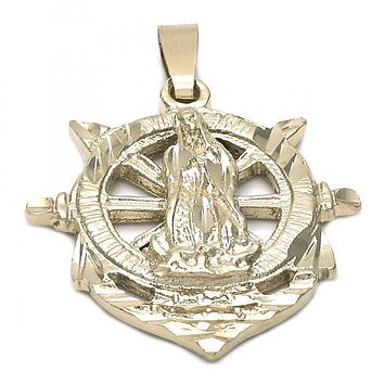 Gold Layered 5.187.017 Religious Pendant, Guadalupe and Anchor Design, Diamond Cutting Finish, Golden Tone