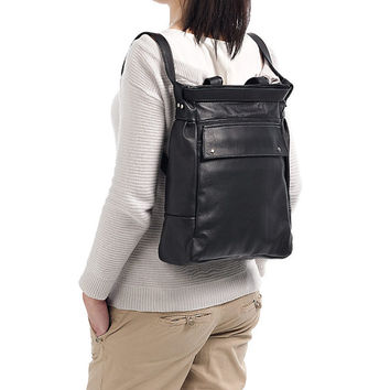Black convertible leather tote - Black leather backpack - Laptop tote - ARTE bag
