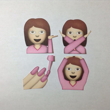 Sassy Girl Emoji stickers - Set of 4