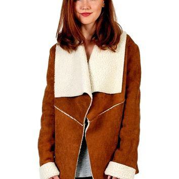 Suede Furry Long Sleeve Jacket, Camel