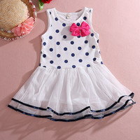 kids Baby Girls Clothes Polka Dot Bow One-piece Dress Skirt Child Summer Dress