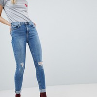 New Look Jenna High Rise Skinny Turn Up Jean at asos.com