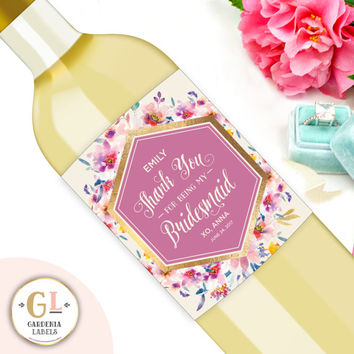 Thank You for Being My Bridesmaid, Wedding Thank You Gift, Custom Wine Label, Ask Maid of Honor, Be My Bridesmaid Wine Label