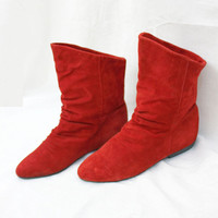 ViNtAgE Red Suede 80s ANKLE BOOTS Soft Side Leather Pull-On Retro Grunge - 7 a231