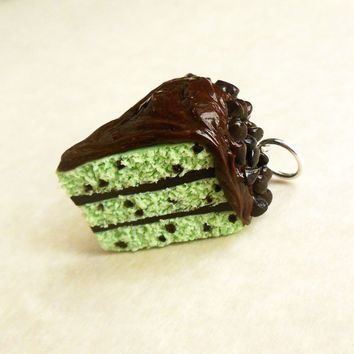 Mint Chocolate Chip Layer Cake Slice Polymer Clay Charm or Key Chain
