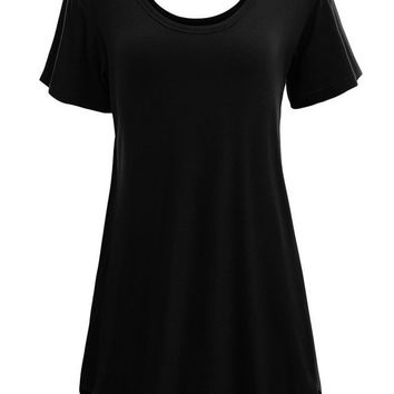 Casual Round Neck Plain Simple Plus Size Shift Dress