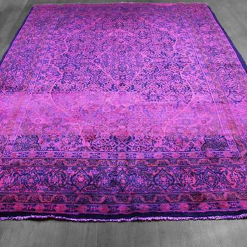 7x10 Overdyed Persian Mahal Hot Pink Purple Blue Rug woh-1365
