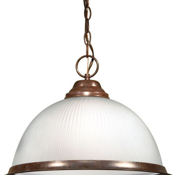 """15"""" Old Bronze Pendant Light Fixture with Frosted Prismatic Dome"""