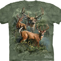 (ALL-NEW-BIG-TROPHY-BUCK-IN-THE-WOODED-BRUSH, DETAILED-GRAPHIC-PREMIUM-PRINTED-TEES:)