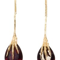 Wouters & Hendrix Gold 'Crow's Claws' garnet earrings