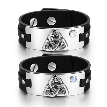 Celtic Triquetra Knot Amulets Love Couples White Sky Blue Simulated Cats Eye Black Leather Tag Bracelets