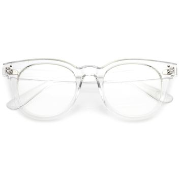 Classic Horn Rimmed Eyeglasses With Rivet Accent Wide Arms Clear Lens 48mm