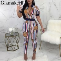 Glamaker Chain stripe print women jumpsuit Summer zipper skinny sexy jumpsuit Streetwear fitness jumpsuits&rompers playsuit