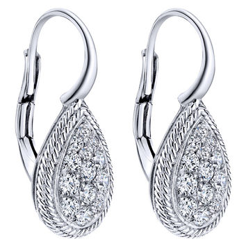 Gabriel Teardrop Pave Cluster Diamond Leverback Earrings