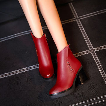 Women Ankle Boots Studded High Heels Platform Shoes Woman 2016 3591