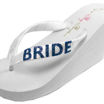 Bridal Wedges in White or Ivory with Bride in Sparkly Blue Glitter Bling