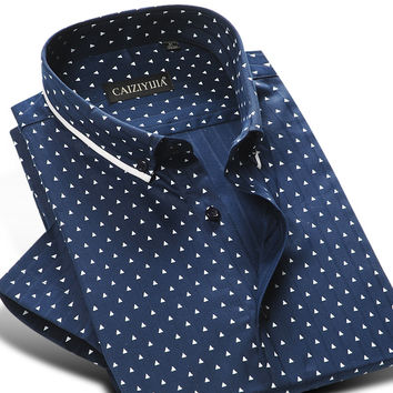Men's 100% Cotton Mini-polka Dot Pattern Dress Shirt Short Sleeve Soft Button-down Casual Slim-fit Shirts