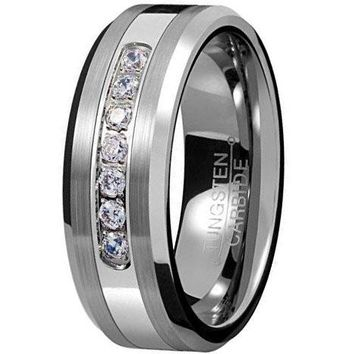 CERTIFIED 8mm Silver Tungsten Carbide Ring Cubic Zirconia Wedding Jewelry Engagement Promise Band for Him Matte Finish