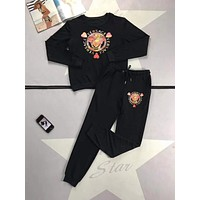"""Versace "" Woman's Leisure Fashion Pattern Letter  Print  Long Sleeve Trousers Two-Piece Set Casual Wear"