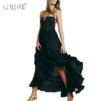 Women Sexy Backless Boho Beach Dress Summer Pleated Ruffles Dresses Halter Solid Color Bohemian Maxi Dress