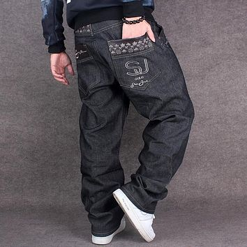 Black Baggy Jeans Men Hip Hop Streetwear Skateboarder Denim Pants Men's Loose Fit Plus Size Hiphop Jeans Size 42 Size 44