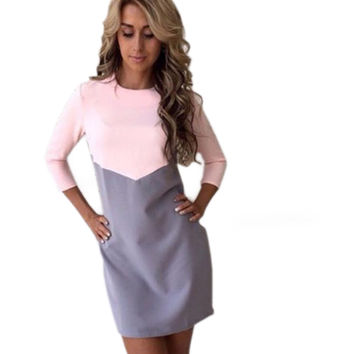 Women Autumn Winter Dress Sexy Casual Patchwork Mini Dress O-Neck Three Quarter Sleeve Bodycon Dress Vestidos Plus Size GV397
