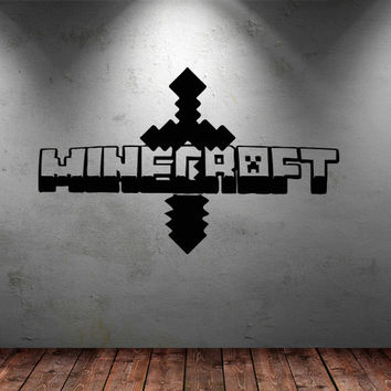 Wall decal vinyl art decor sticker design Minecraft video game sword logo sign word bedroom mural (m1063)