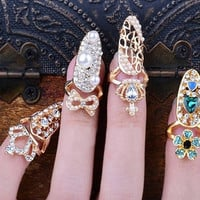 Fashion Bowknot Crown Crystal Finger Nail Art Ring Jewelry Fake Nail Art Finger Rings = 1706379524