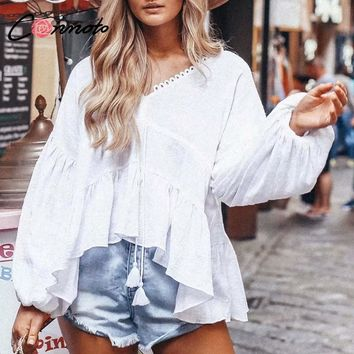Conmoto White Lace up Women Blouses Casual V Neck Boho Tops and  Blouse Long Lantern Sleeves Shirt Tops Blusas