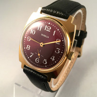"Vintage men's ""ZIM - POBEDA"" wristwatch, with deep purple-red dial! Comes with brand new leather band!"