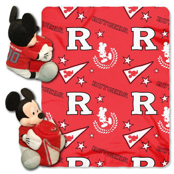 Rutgers Scarlet Knights NCAA Mickey Mouse with Throw Combo